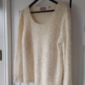 Cyrus off white sequined sweater pullover XL